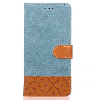 Hit Color Cowboy stripes Leaf Card Lanyard Pu Leather Cover for Samsung S5 - BLUE BLUE