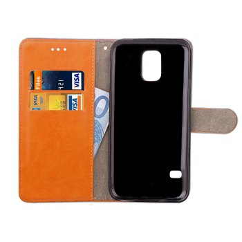 Hit Color Cowboy stripes Leaf Card Lanyard Pu Leather Cover for Samsung S5 - BLUE