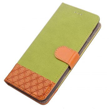 Hit Color Cowboy stripes Leaf Card Lanyard Pu Leather Cover for Samsung S5 -  GREEN