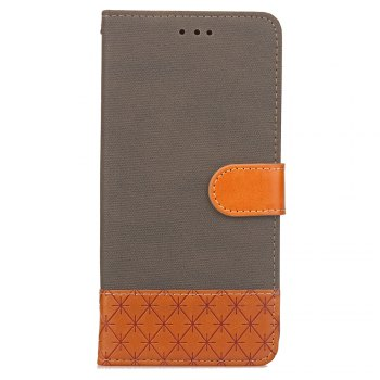Hit Color Cowboy stripes Leaf Card Lanyard Pu Leather Cover for Samsung S5 - GRAY GRAY