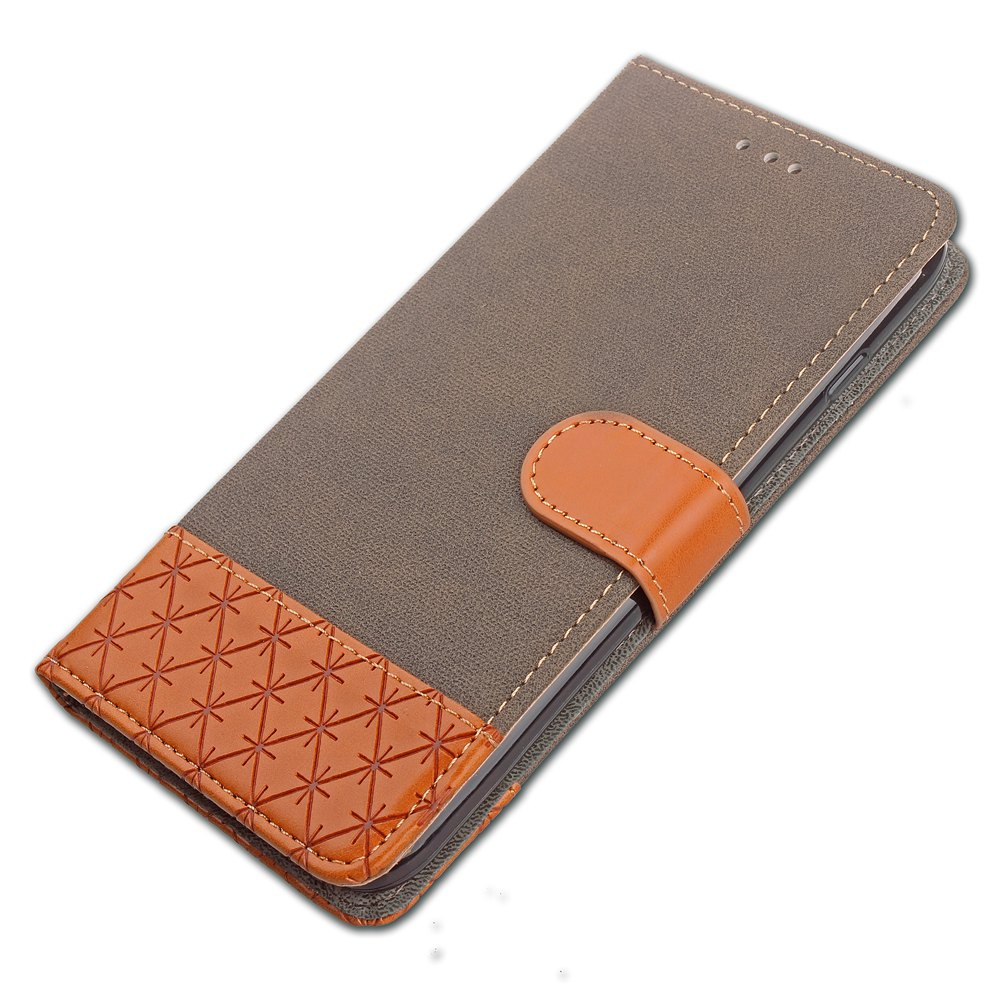 Hit Color Cowboy stripes Leaf Card Lanyard Pu Leather Cover for Samsung S5 - GRAY