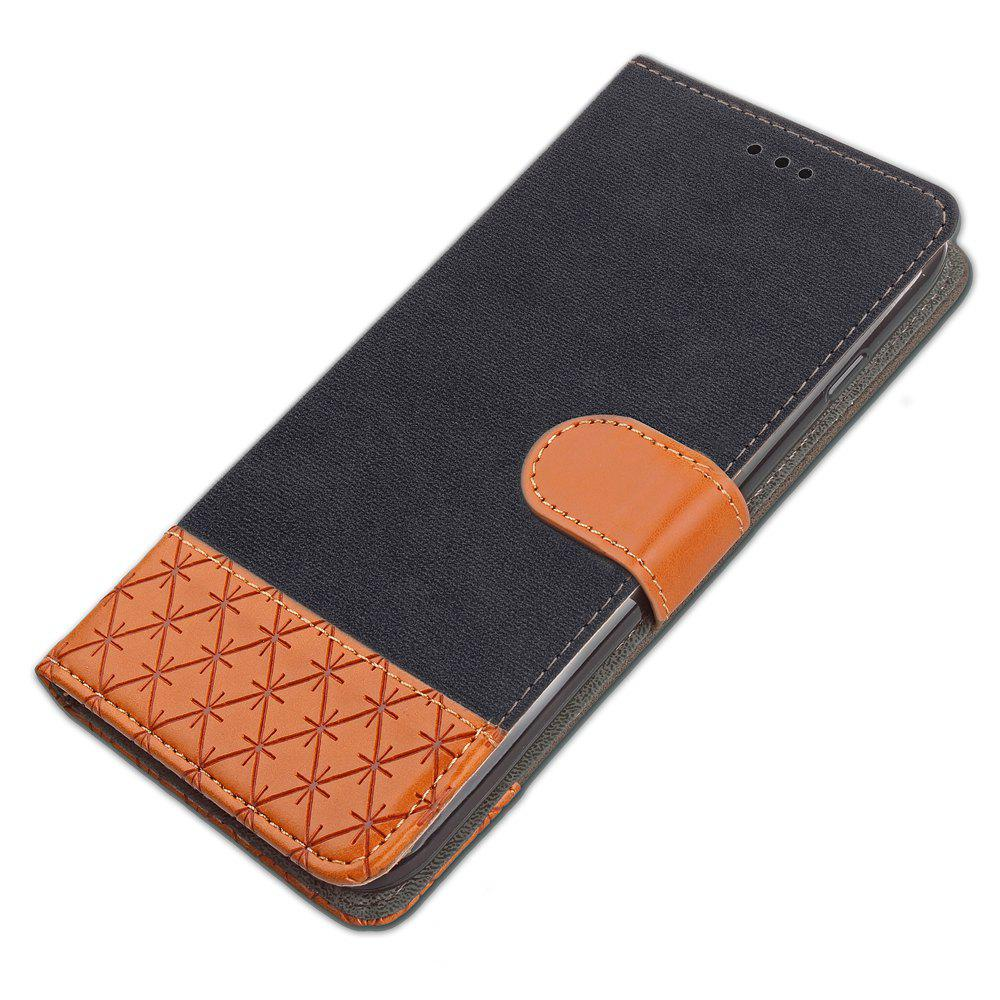 Hit Color Cowboy stripes Leaf Card Lanyard Pu Leather Cover for Sony XZ1 - BLACK