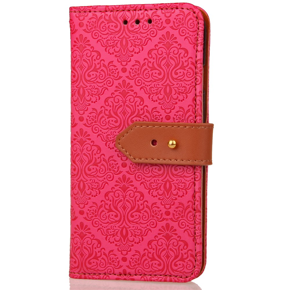 European Style Card Lanyard Pu Leather Cover for Sony XZ1 compact - ROSE RED