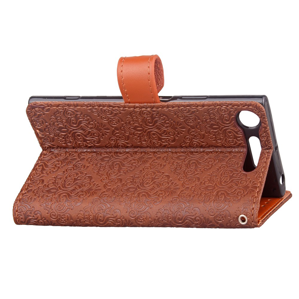 European Style Card Lanyard Pu Leather Cover for Sony XZ1 - DEEP BROWN