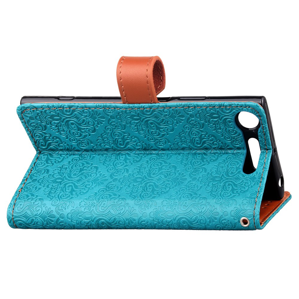 European Style Card Lanyard Pu Leather Cover for Sony XZ1 - BLUE