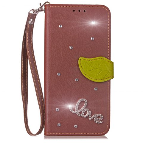 Love Leaf Stick Drill Card Lanyard Pu Leather Cover for ASUS V520kl - BROWN