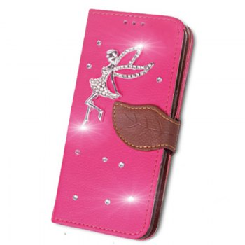 Leaf Stick Drill Card Lanyard Pu Leather Cover for ASUS V520kl - ROSE RED