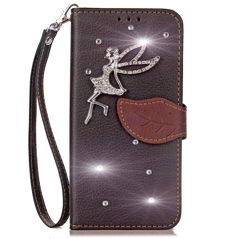 Leaf Stick Drill Card Lanyard Pu Leather Cover for ASUS V520kl - BLACK