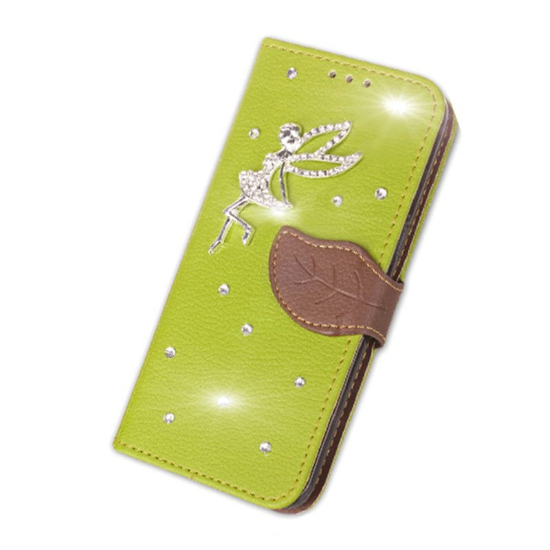 Leaf Stick Drill Card Lanyard Pu Leather Cover for ASUS V520kl - GREEN
