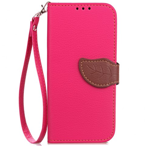 Leaf Card Lanyard Pu Leather Cover for ASUS ZC521TL - ROSE RED
