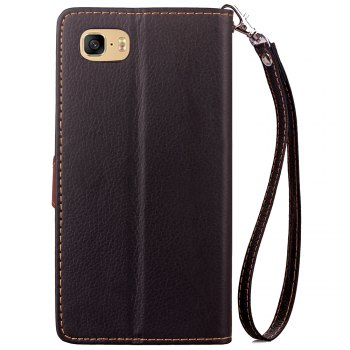 Leaf Card Lanyard Pu Leather Cover for ASUS ZC521TL - BLACK