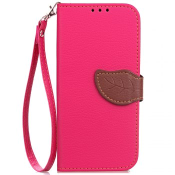 Leaf Card Lanyard Pu Leather Cover for ASUS ZC521TL - ROSE RED ROSE RED