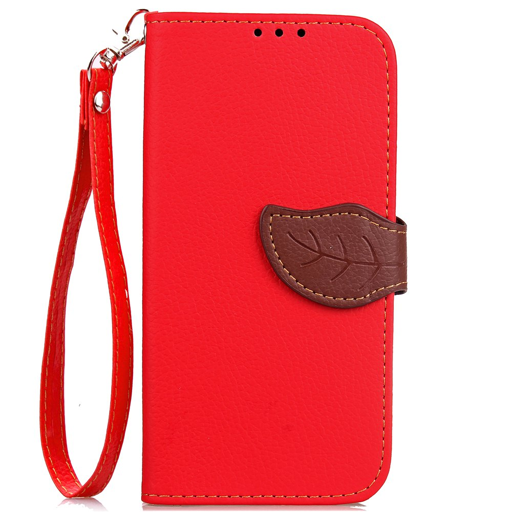 Leaf Card Lanyard Pu Leather Cover for ASUS ZC521TL - RED