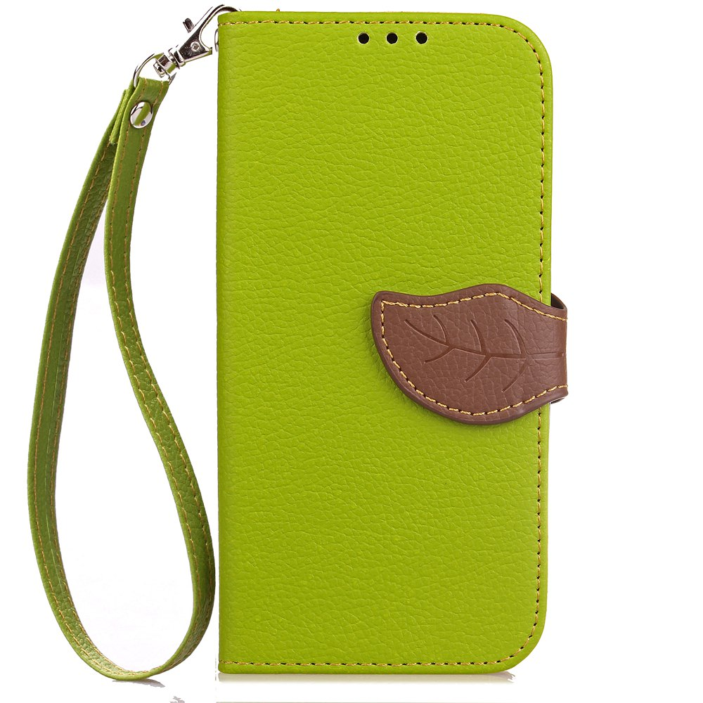 Leaf Card Lanyard Pu Leather Cover for ASUS ZC521TL - GREEN