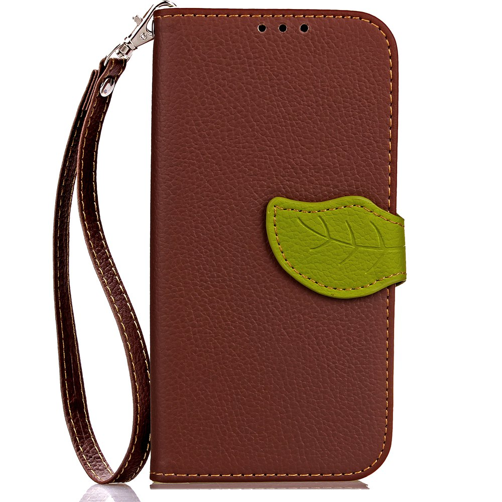 Leaf Card Lanyard Pu Leather Cover for ASUS ZC521TL - BROWN