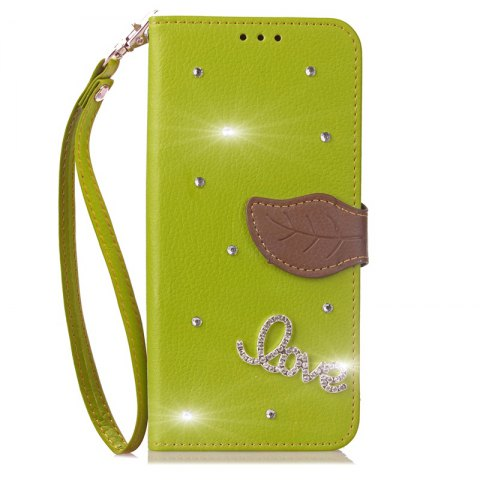 Love Leaf Stick Drill Card Lanyard Pu Leather Cover for ASUS ZC521TL - GREEN