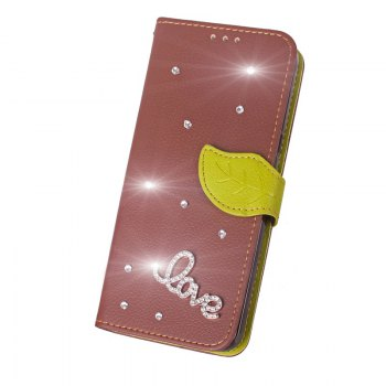 Love Leaf Stick Drill Card Lanyard Pu Leather Cover for ASUS ZC521TL - BROWN