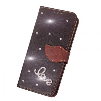 Love Leaf Stick Drill Card Lanyard Pu Leather Cover for ASUS ZC521TL - BLACK