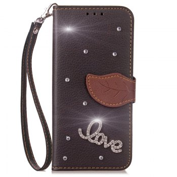 Love Leaf Stick Drill Card Lanyard Pu Leather Cover for ASUS ZC521TL - BLACK BLACK