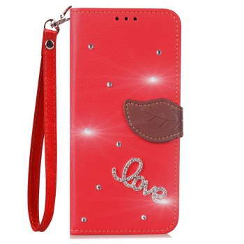 Love Leaf Stick Drill Card Lanyard Pu Leather Cover for ASUS ZC521TL - RED RED