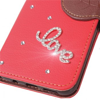 Love Leaf Stick Drill Card Lanyard Pu Leather Cover for ASUS ZC521TL -  RED
