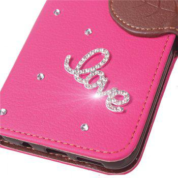 Love Leaf Stick Drill Card Lanyard Pu Leather Cover for ASUS ZC521TL - ROSE RED
