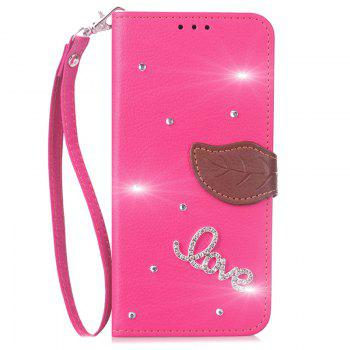 Love Leaf Stick Drill Card Lanyard Pu Leather Cover for ASUS ZC521TL - ROSE RED ROSE RED
