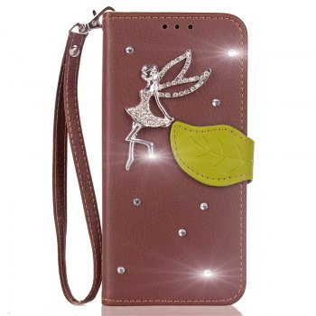 Leaf Stick Drill Card Lanyard Pu Leather Cover for ASUS ZC521TL - BROWN BROWN