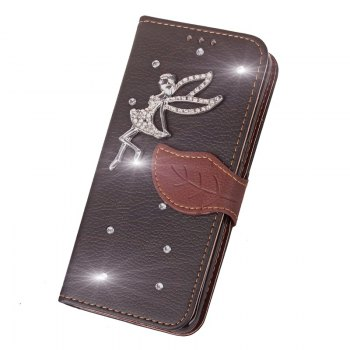 Leaf Stick Drill Card Lanyard Pu Leather Cover for ASUS ZC521TL -  BLACK