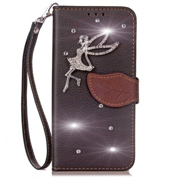 Leaf Stick Drill Card Lanyard Pu Leather Cover for ASUS ZC521TL - BLACK BLACK