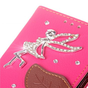 Leaf Stick Drill Card Lanyard Pu Leather Cover for ASUS ZC521TL - ROSE RED