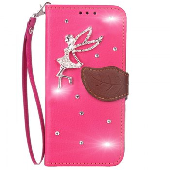 Leaf Stick Drill Card Lanyard Pu Leather Cover for ASUS ZC521TL - ROSE RED ROSE RED