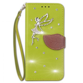 Leaf Stick Drill Card Lanyard Pu Leather Cover for ASUS ZC521TL - GREEN GREEN
