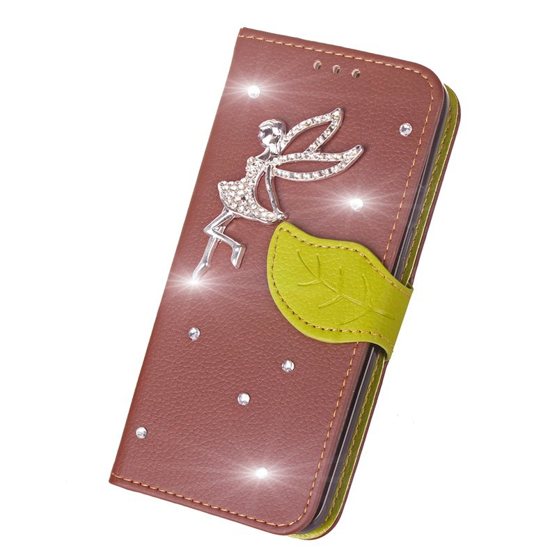 Leaf Stick Drill Card Lanyard Pu Leather Cover for ASUS ZC521TL - BROWN