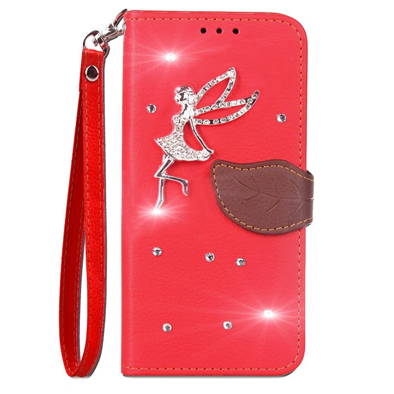 Leaf Stick Drill Card Lanyard Pu Leather Cover for ASUS ZC521TL - RED