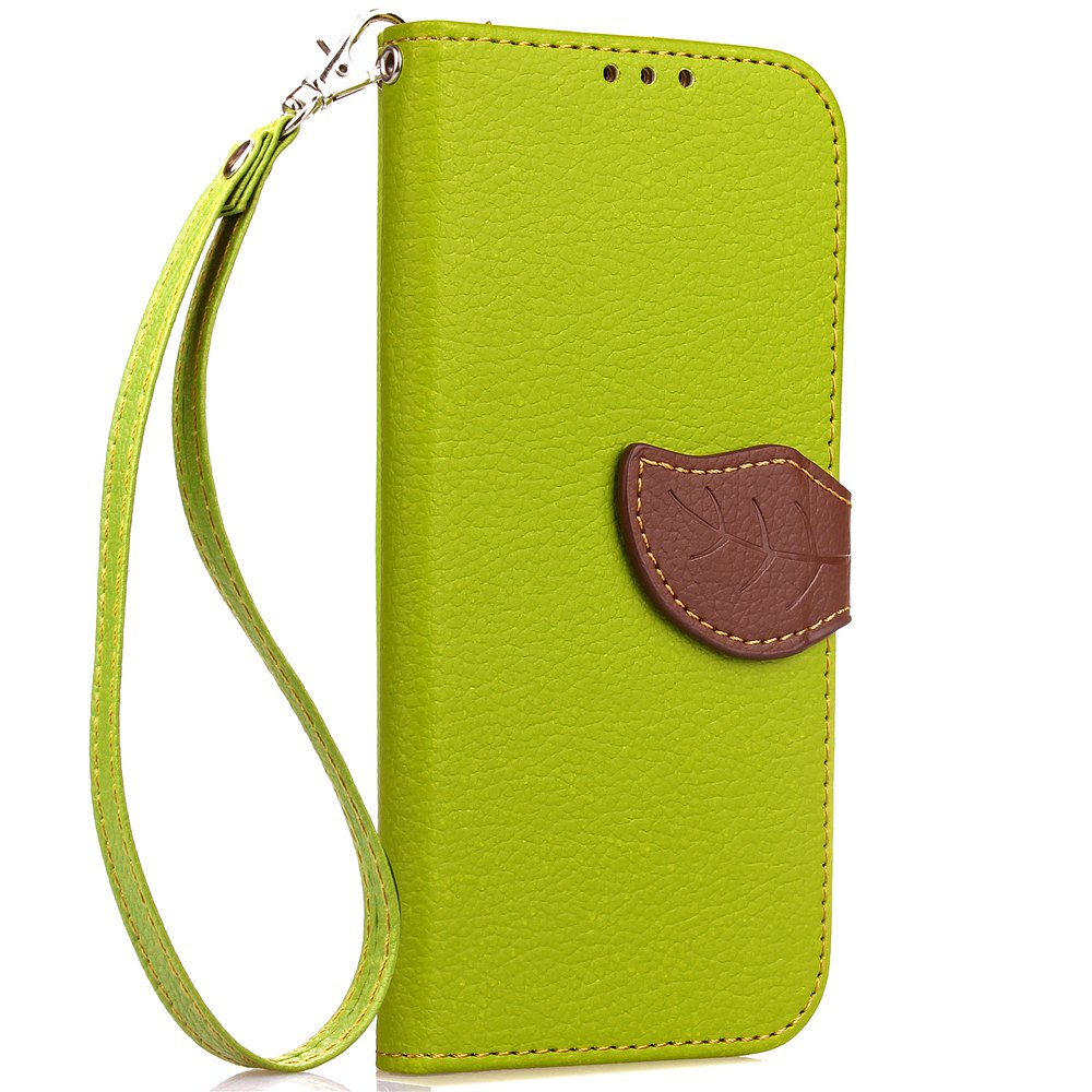 Leaf Card Lanyard Pu Leather Cover for ASUS ZD552kl - GREEN
