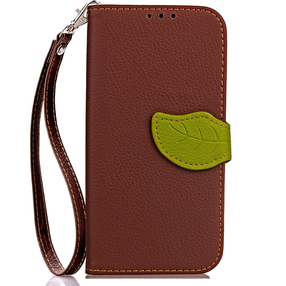 Leaf Card Lanyard Pu Leather Cover for ASUS ZD552kl - BROWN