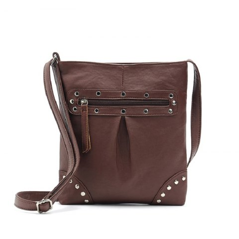 Women Messenger Bags Lady Rivet Crossbody Bags Female Fashion Travel Flap Bag Shoulder Bag - MOCHA