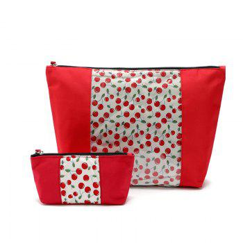 2pcs/set Women Cute Make Up Bags Cosmetic Bag Travel Organizer Clutch Bag For Travel - RED