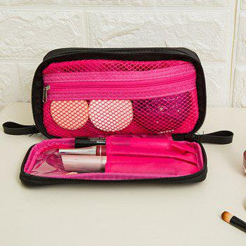 Storage Bag Simple Black Red Multifuction Layers Travelling Container Cosmetic Bag - PINK