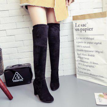 Women Sexy Fashion Over Knee Long Boots Block Thick High Heel New Shoes - BLACK 39