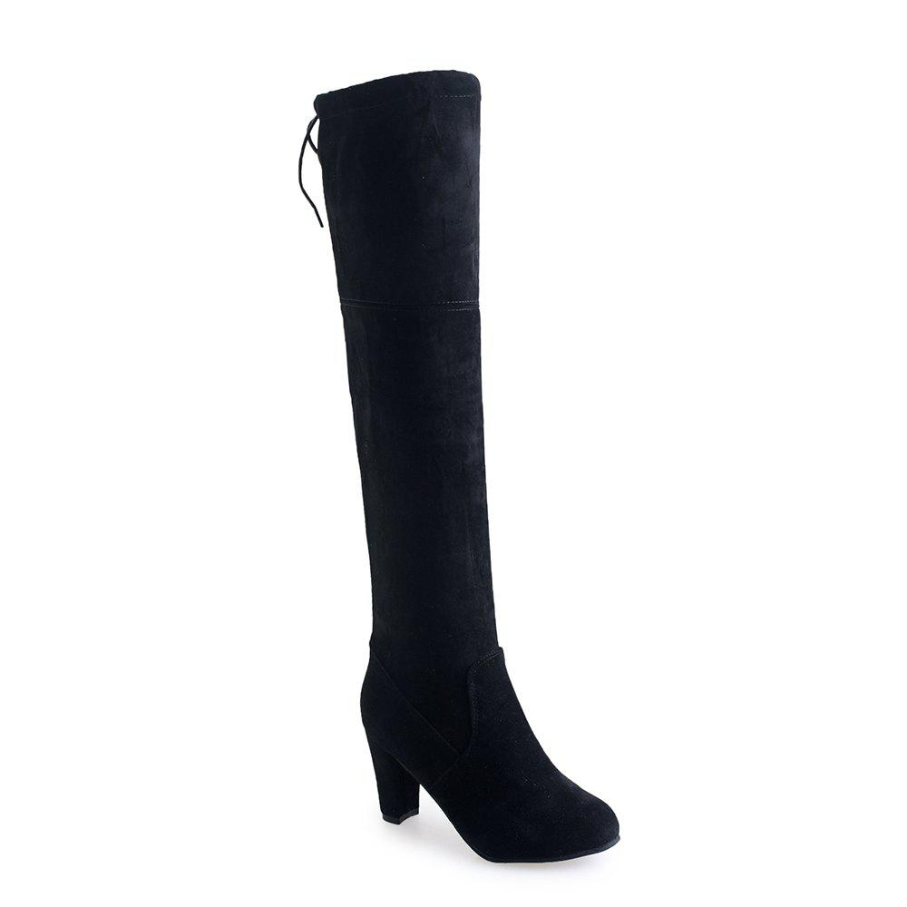 Women Sexy Fashion Over Knee Long Boots Block Thick High Heel New Shoes 2016 new arrive keep warm high heel snow boots fashion thick fur platform knee high winter boots for women shoes