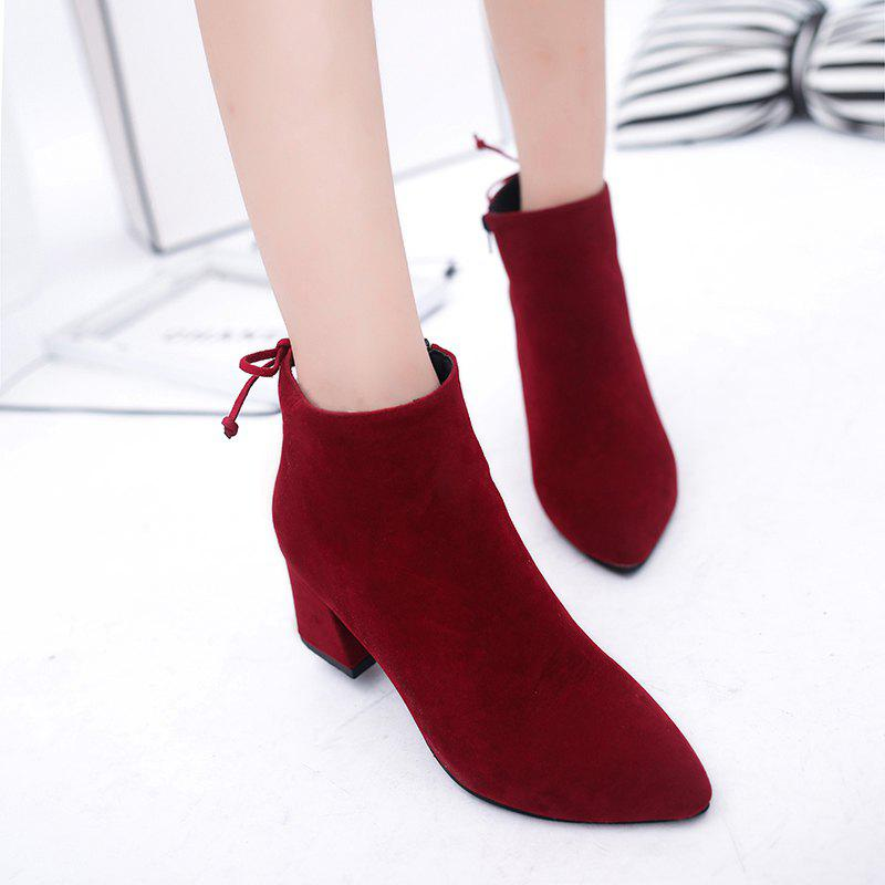 2017 Autumn and Winter New English Wind Tip Rough Heel Grind Skin Fashion Martin Boots от Dresslily.com INT