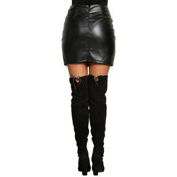 High Waist Fashion Eyelet Package With Buttocks Tight Skirts PU Women's Short Skirts - BLACK M