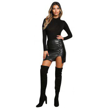 High Waist Fashion Lace Up Tight PU Short Skirts - BLACK M
