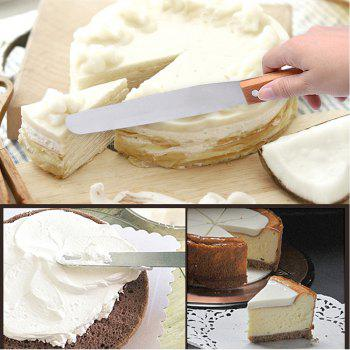 Stainless Steel Butter Cake Cream Knife Spatula Silver Pastry Cake Making Tools Smoother Accessories Wooden Handle 1PCS - SILVER