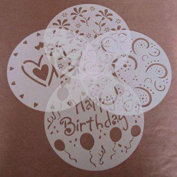 4PCS Baking Fondant Cake Stencil Template Mold Birthday Spiral Decoration Cake Biscuit Stencil Bakery Tool Fondant Mold - WHITE