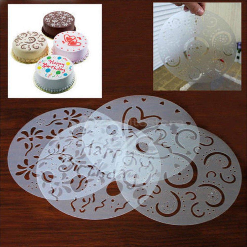 4PCS Baking Fondant Cake Stencil Template Mold Birthday Spiral Decoration Cake Biscuit Stencil Bakery Tool Fondant Mold 10 in 1 fondant cake decorating flower modelling tool set multicolored