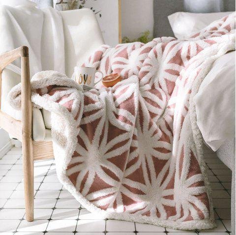 New Product Jacquard Super Soft Double-Layer Reinforced Lamb Pile Blanket - RED 160CM X 210CM