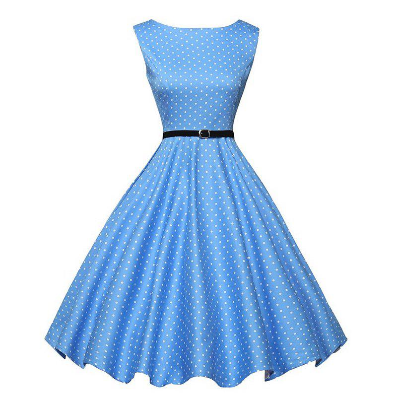 Printed Dress with Belt - WINDSOR BLUE L